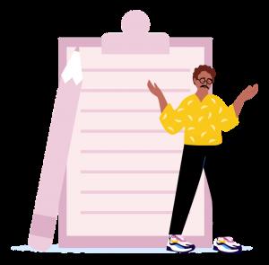 Icone d'une personne avec un bloc notes